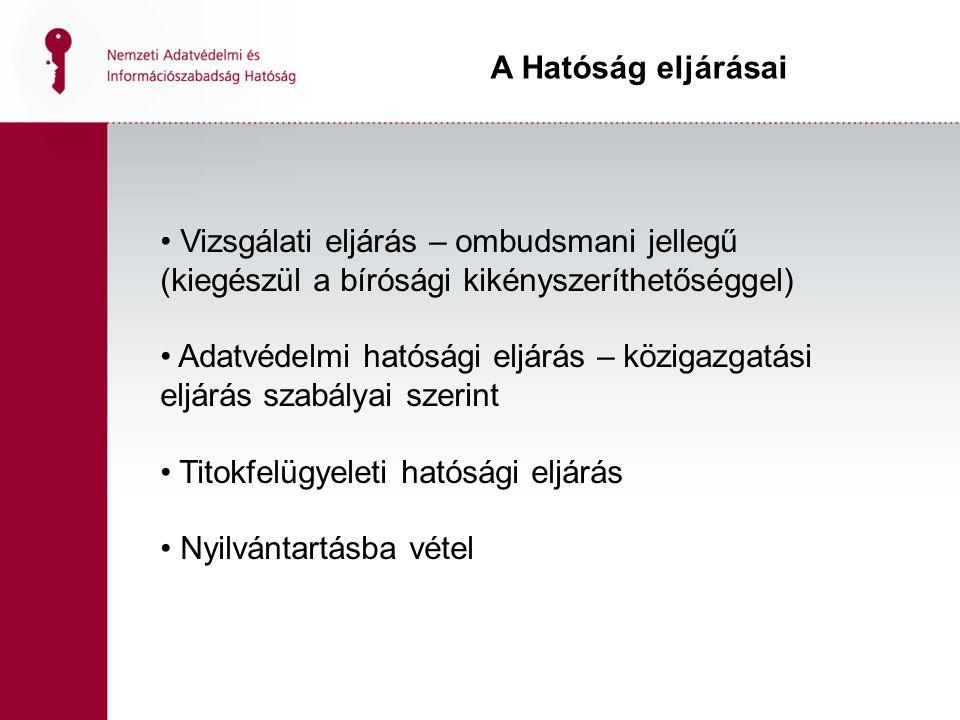 A Hatóság eljárásai Vizsgálati eljárás – ombudsmani jellegű (kiegészül a bírósági kikényszeríthetőséggel)
