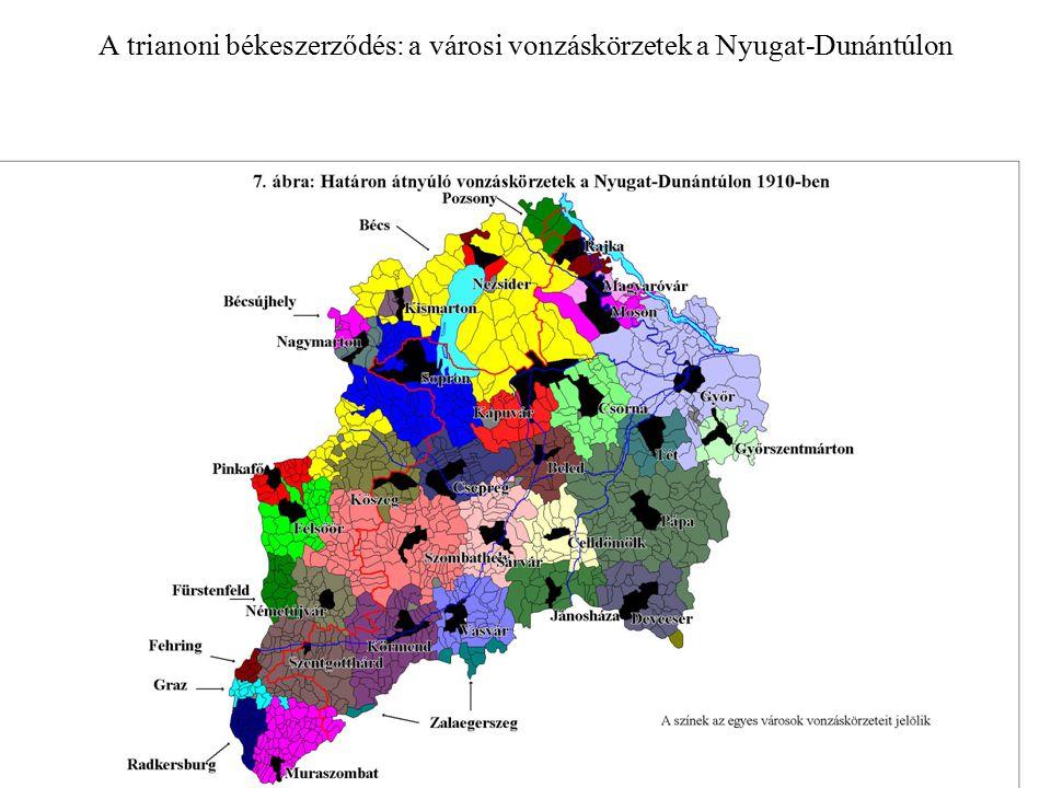 A trianoni békeszerződés: a városi vonzáskörzetek a Nyugat-Dunántúlon