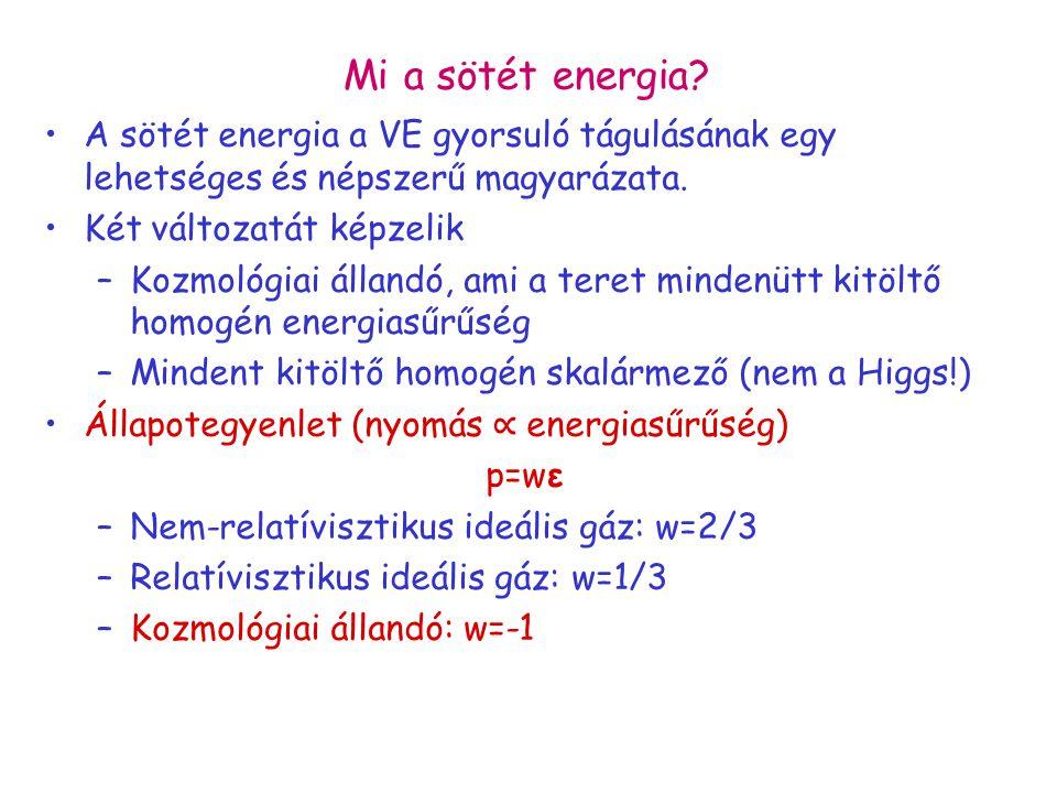 Mi a sötét energia A sötét energia a VE gyorsuló tágulásának egy lehetséges és népszerű magyarázata.