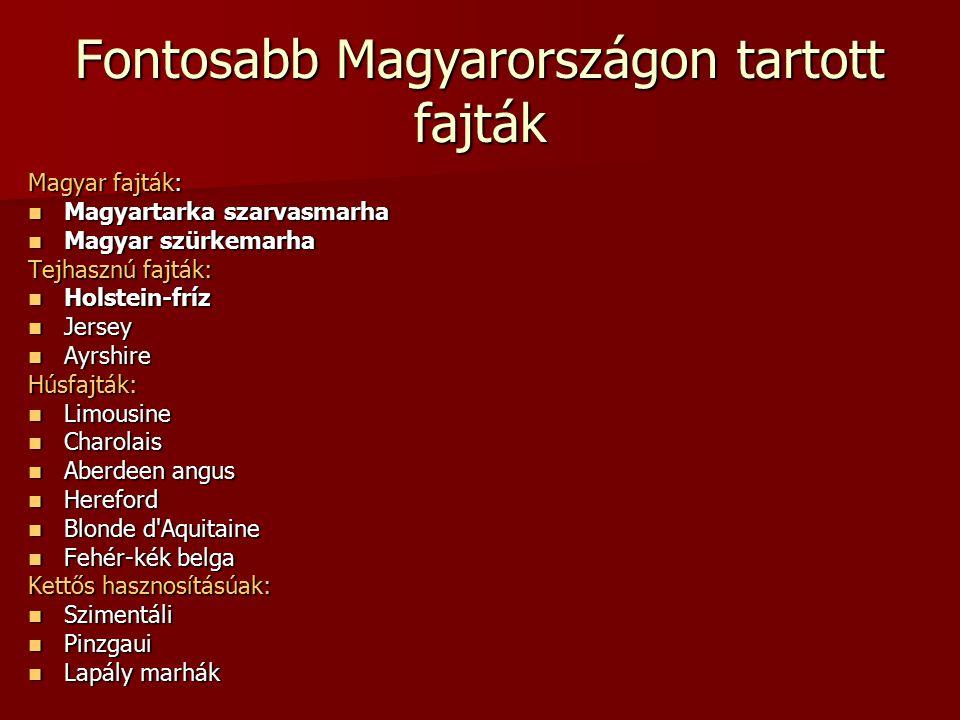 Fontosabb Magyarországon tartott fajták