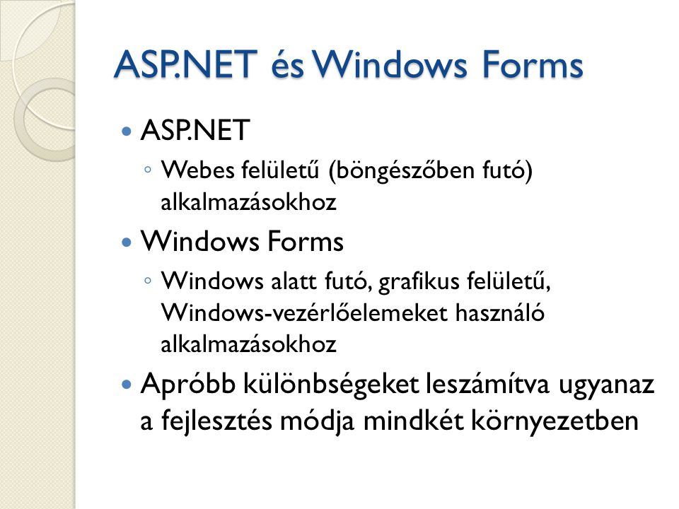 ASP.NET és Windows Forms
