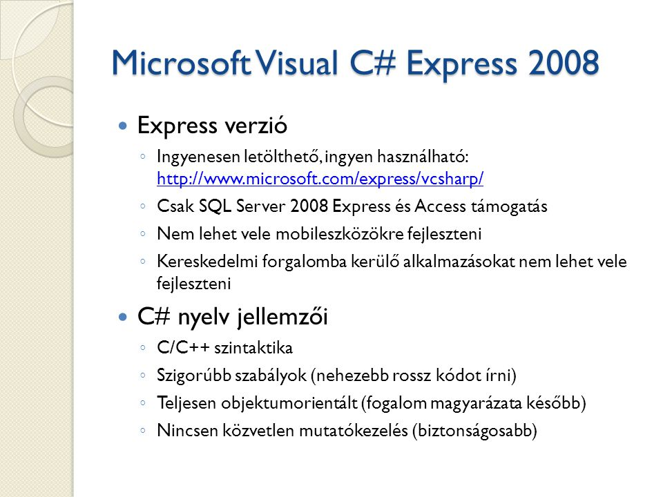 Microsoft Visual C# Express 2008