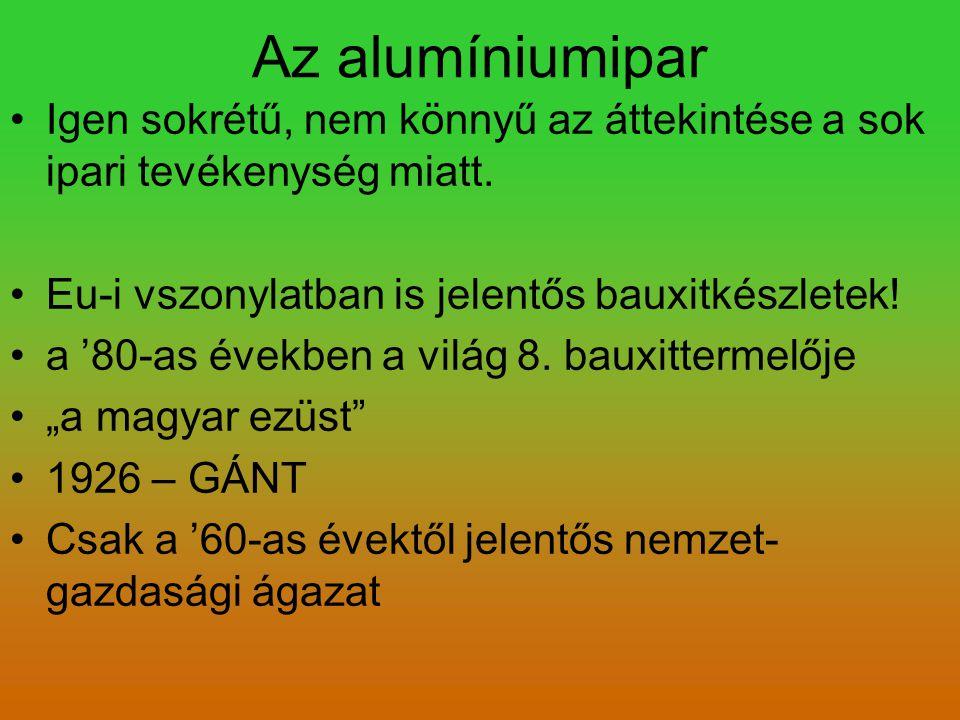 Az alumíniumipar Igen sokrétű, nem könnyű az áttekintése a sok ipari tevékenység miatt. Eu-i vszonylatban is jelentős bauxitkészletek!