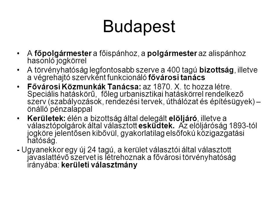 Budapest A főpolgármester a főispánhoz, a polgármester az alispánhoz hasonló jogkörrel.