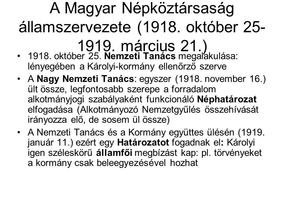A Magyar Népköztársaság államszervezete (1918. október 25- 1919