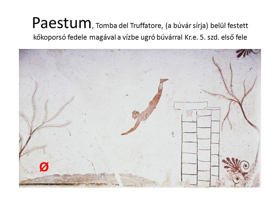 Paestum, Tomba del Truffatore, (a búvár sírja) belül festett kőkoporsó fedele magával a vízbe ugró búvárral Kr.e. 5. szd. első fele