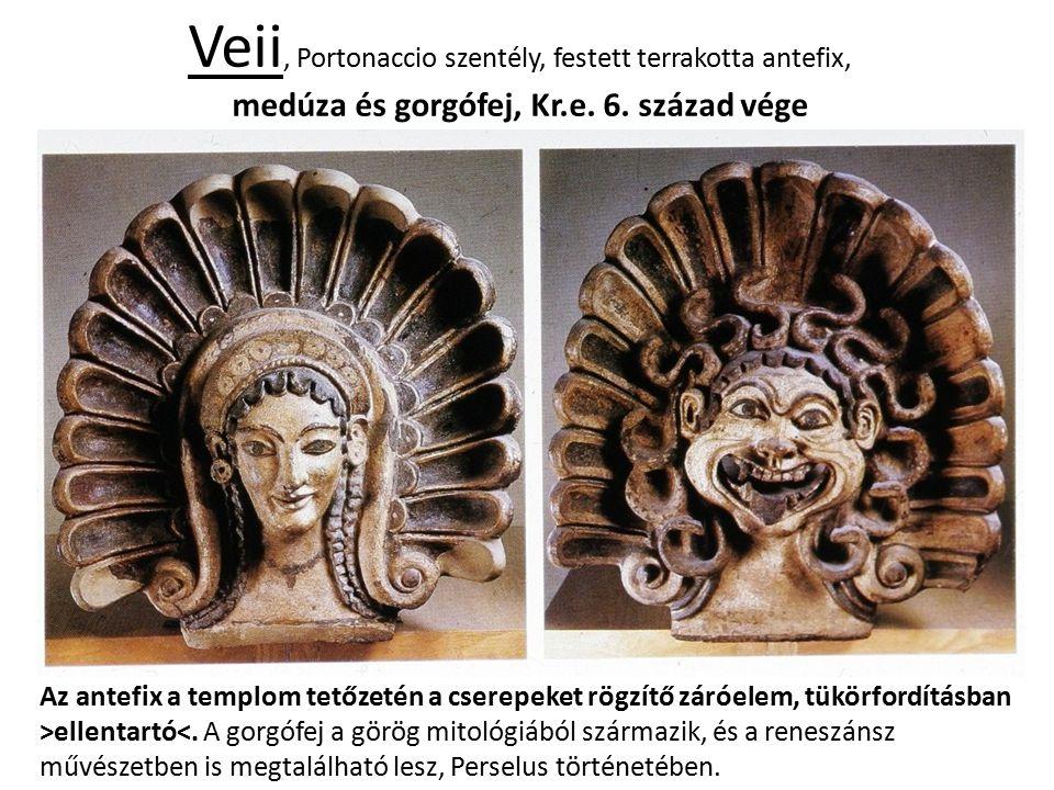 Veii, Portonaccio szentély, festett terrakotta antefix, medúza és gorgófej, Kr.e. 6. század vége