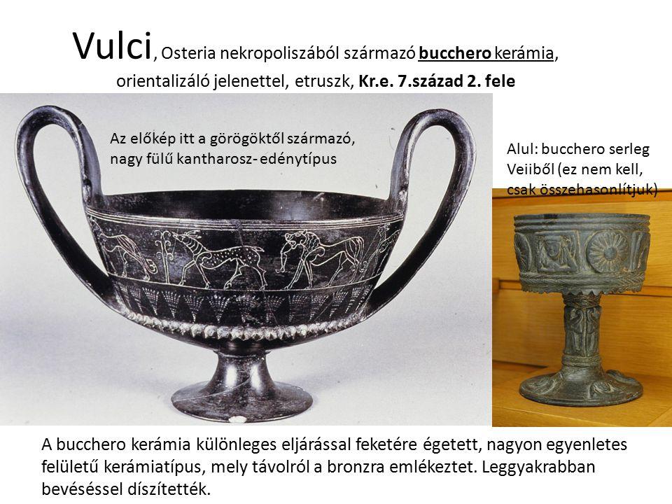 Vulci, Osteria nekropoliszából származó bucchero kerámia, orientalizáló jelenettel, etruszk, Kr.e. 7.század 2. fele