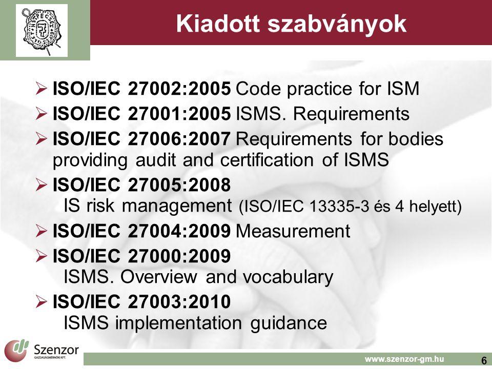 Kiadott szabványok ISO/IEC 27002:2005 Code practice for ISM