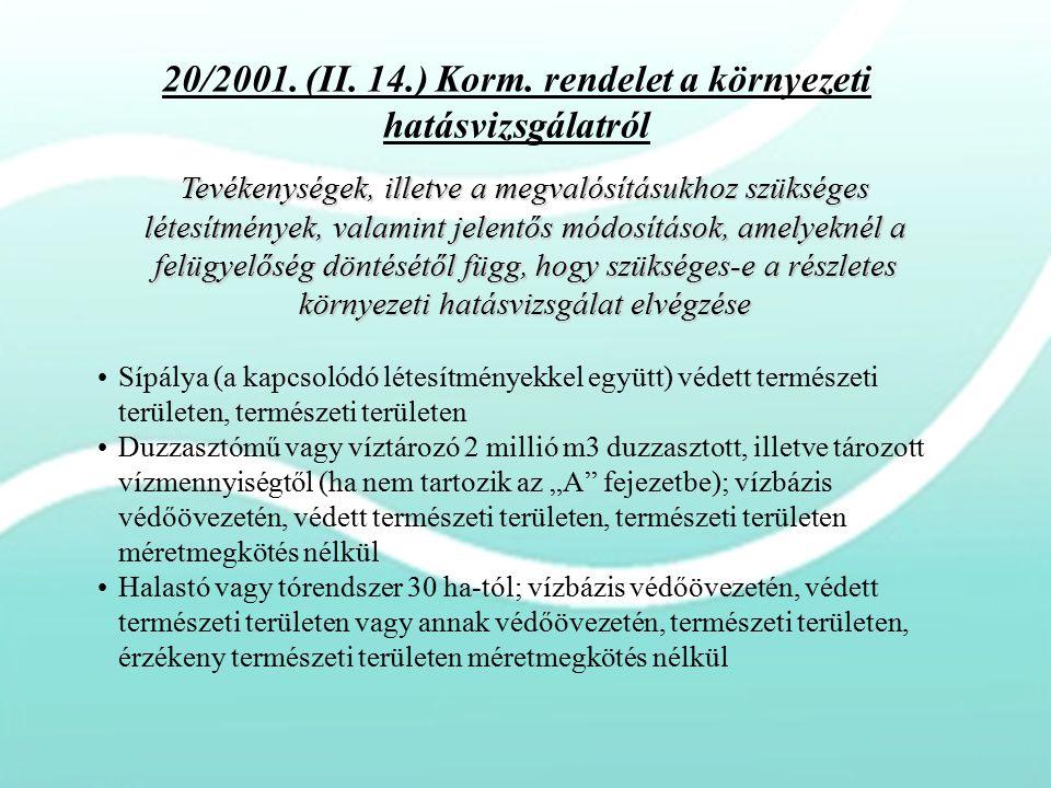 20/2001. (II. 14.) Korm. rendelet a környezeti hatásvizsgálatról