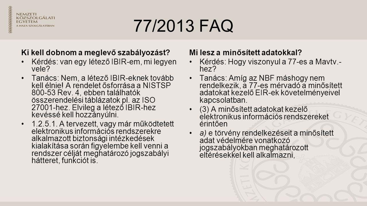 77/2013 FAQ Ki kell dobnom a meglevő szabályozást