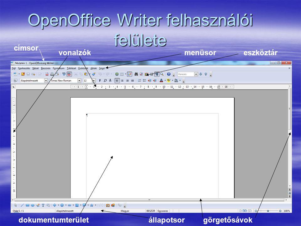 OpenOffice Writer felhasználói felülete