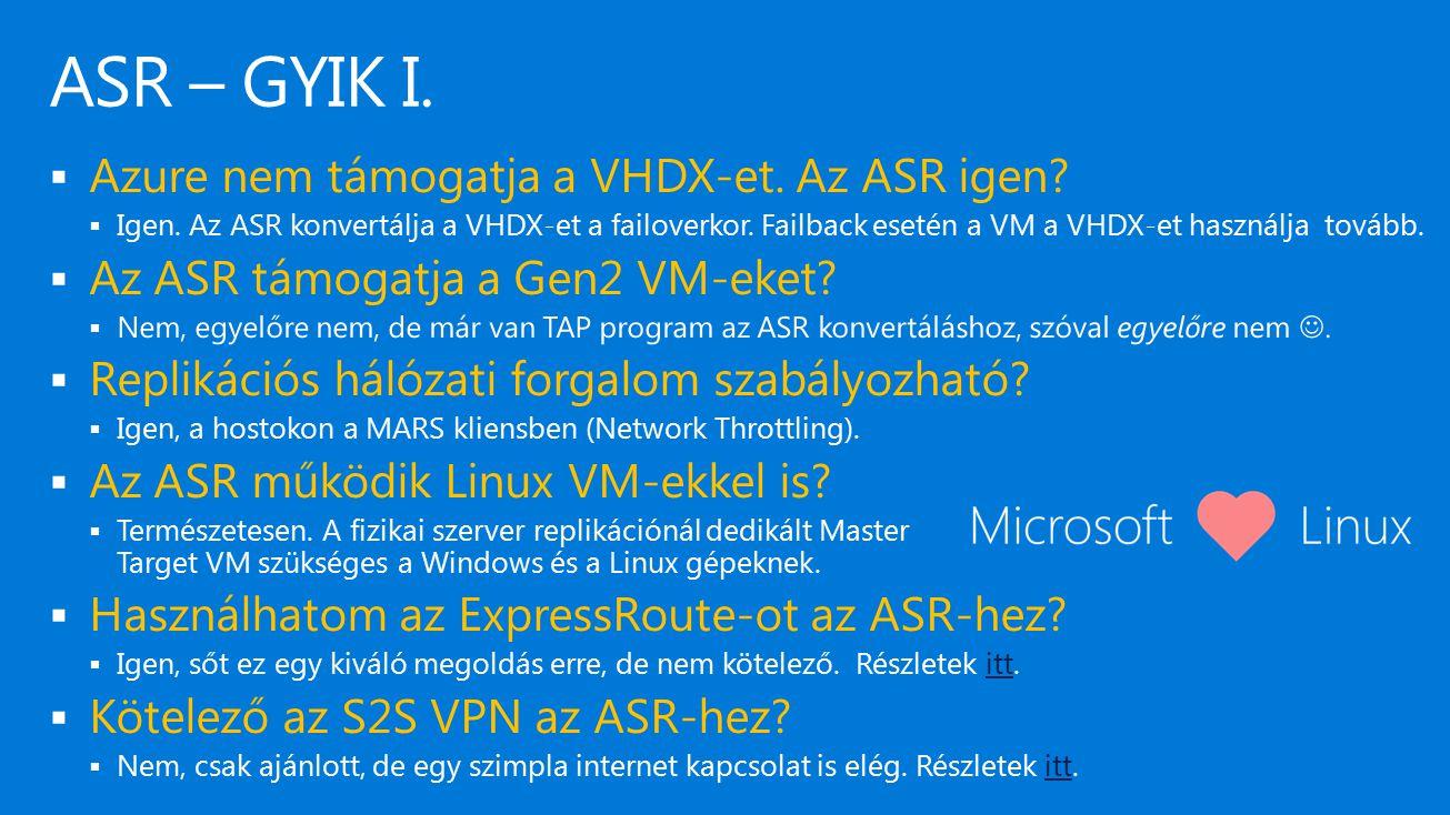 ASR – GYIK I. Azure nem támogatja a VHDX-et. Az ASR igen
