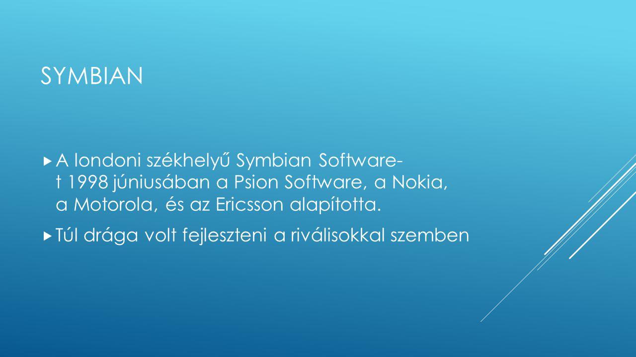 symbian A londoni székhelyű Symbian Software- t 1998 júniusában a Psion Software, a Nokia, a Motorola, és az Ericsson alapította.