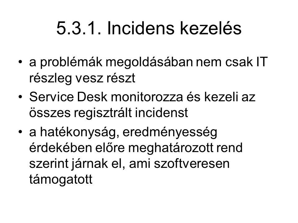 5.3.1. Incidens kezelés a problémák megoldásában nem csak IT részleg vesz részt. Service Desk monitorozza és kezeli az összes regisztrált incidenst.