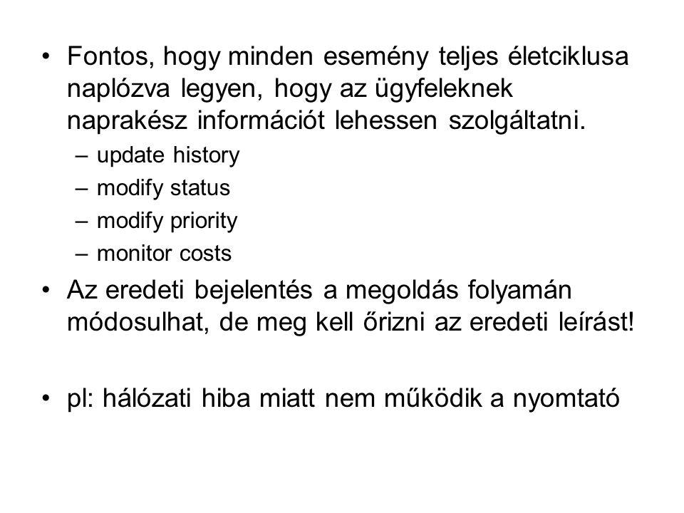 pl: hálózati hiba miatt nem működik a nyomtató