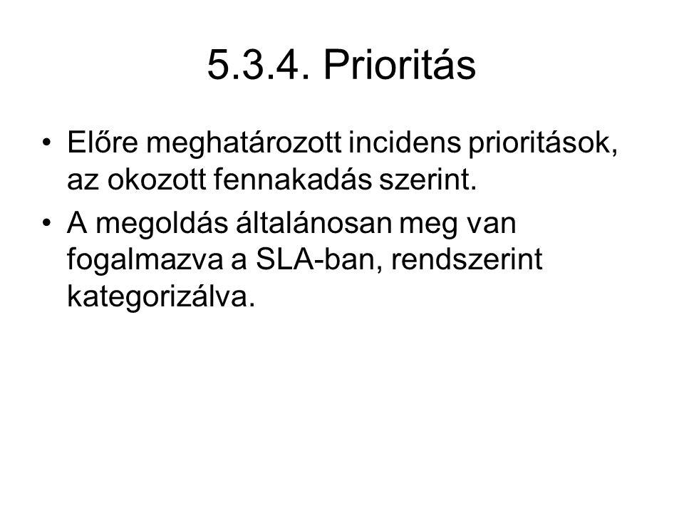 5.3.4. Prioritás Előre meghatározott incidens prioritások, az okozott fennakadás szerint.