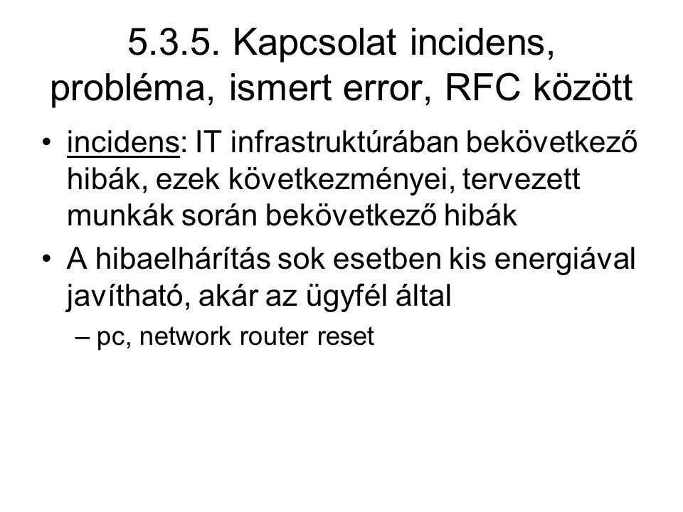 5.3.5. Kapcsolat incidens, probléma, ismert error, RFC között