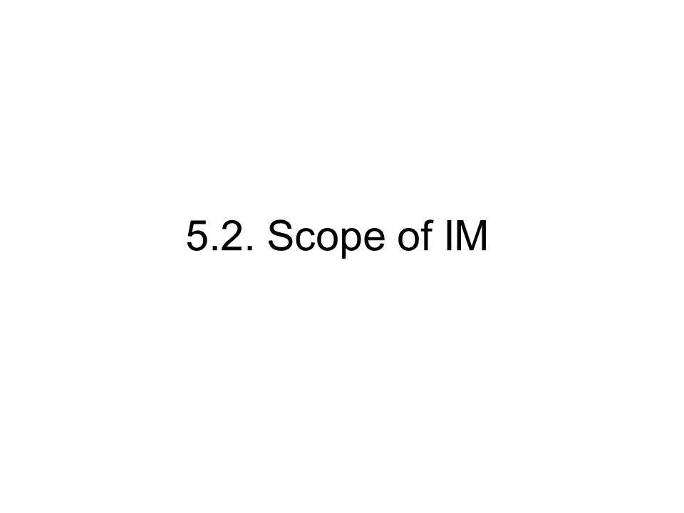 5.2. Scope of IM