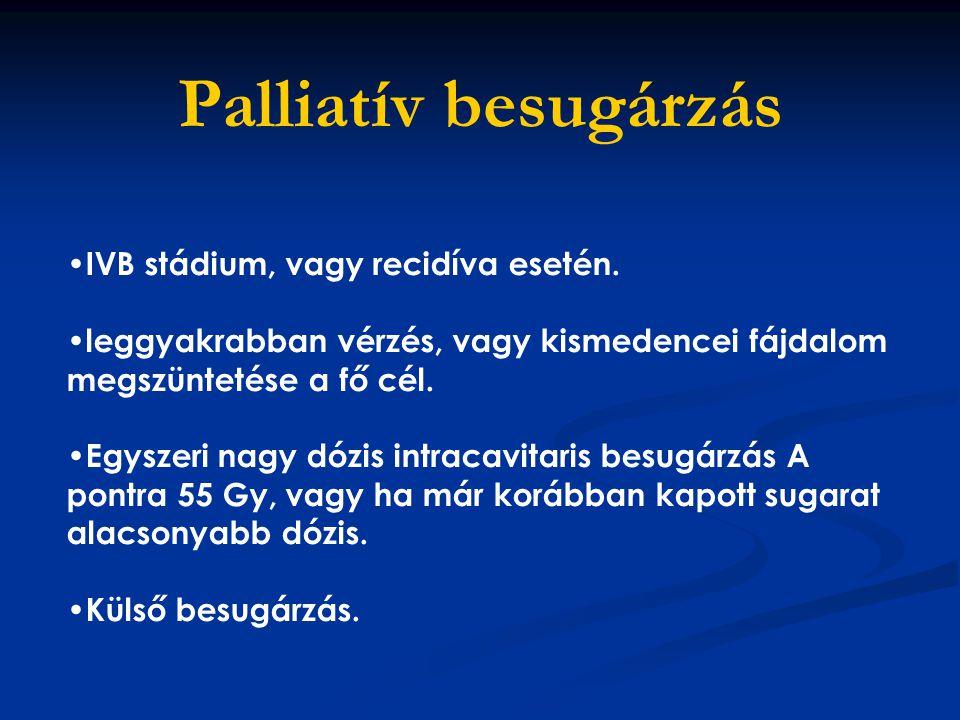 Palliatív besugárzás IVB stádium, vagy recidíva esetén.