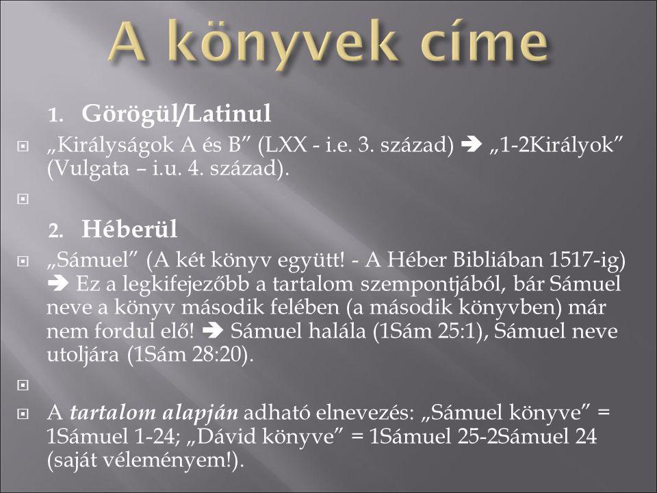 A könyvek címe Görögül/Latinul Héberül