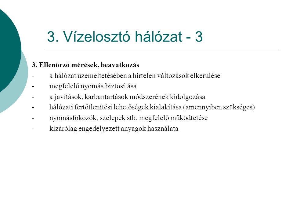 3. Vízelosztó hálózat - 3 3. Ellenőrző mérések, beavatkozás