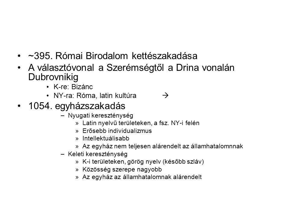 ~395. Római Birodalom kettészakadása