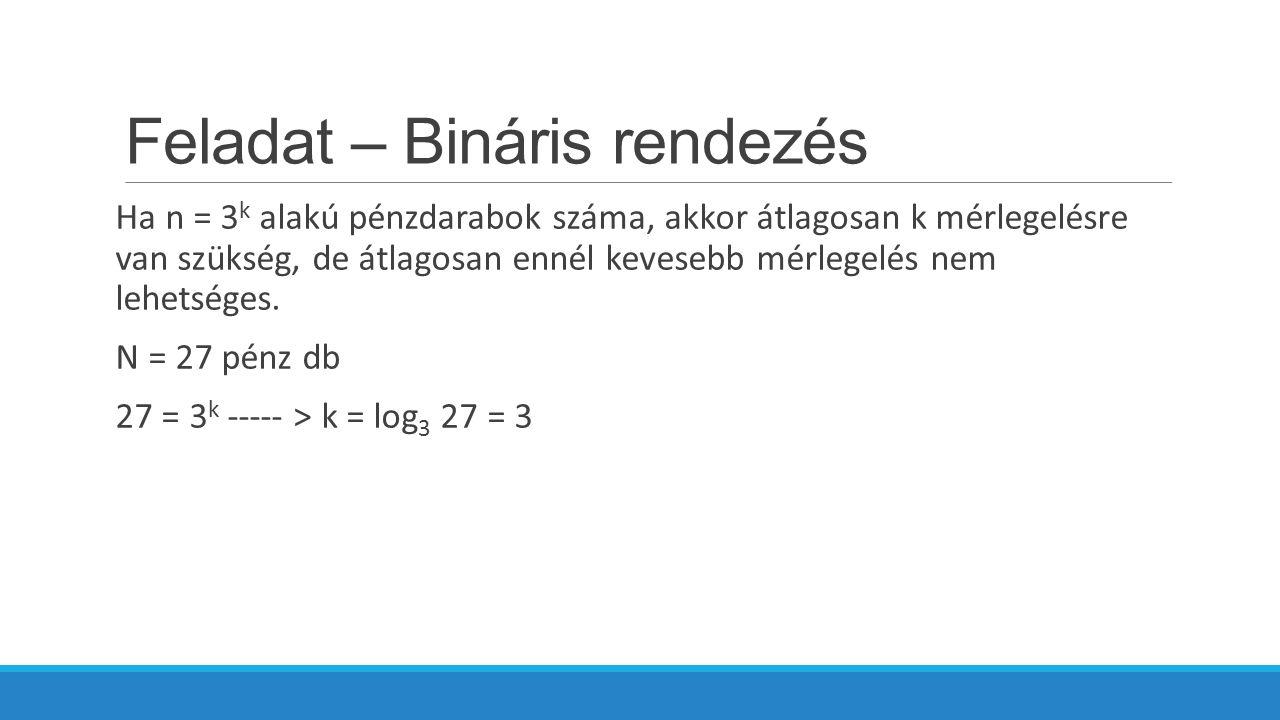 Feladat – Bináris rendezés