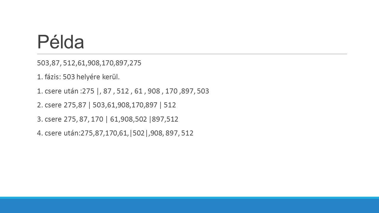 Példa 503,87, 512,61,908,170,897,275 1. fázis: 503 helyére kerül.