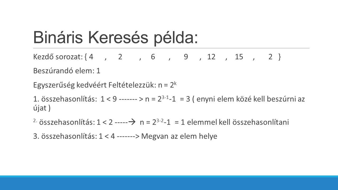 Bináris Keresés példa: