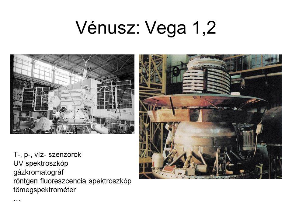 Vénusz: Vega 1,2 T-, p-, víz- szenzorok UV spektroszkóp gázkromatográf