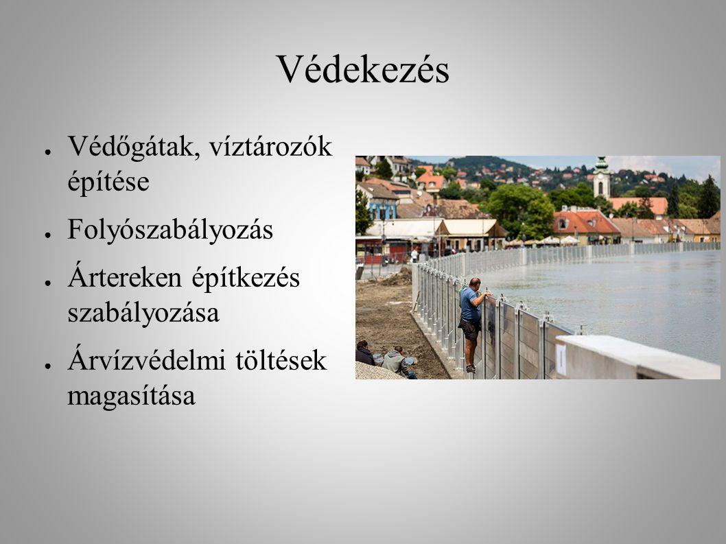 Védekezés Védőgátak, víztározók építése Folyószabályozás