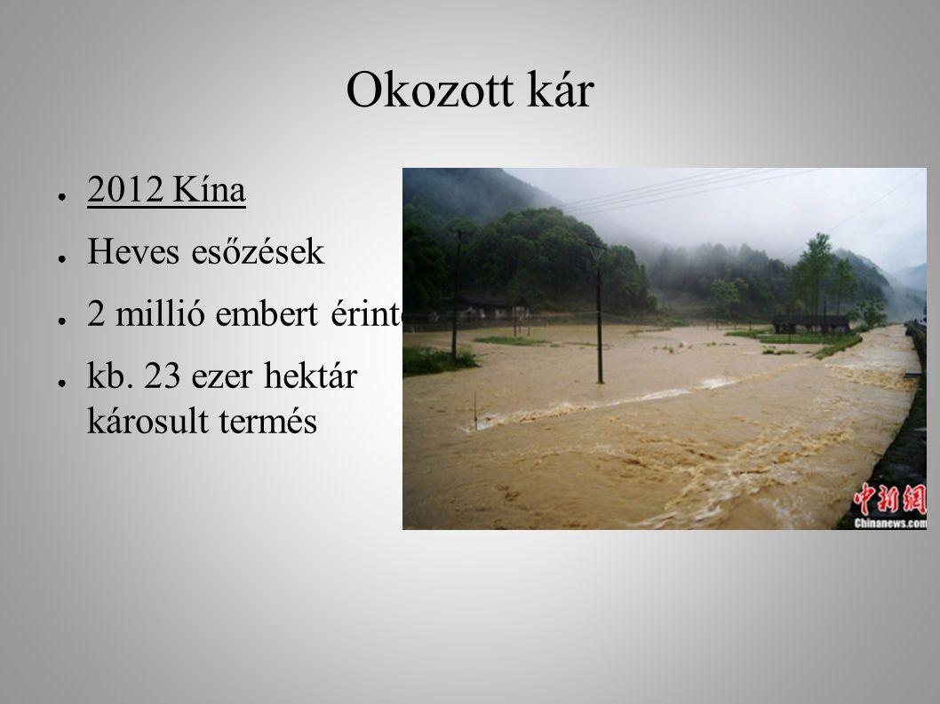 Okozott kár 2012 Kína Heves esőzések 2 millió embert érintett