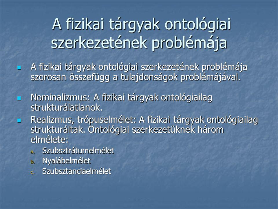 A fizikai tárgyak ontológiai szerkezetének problémája