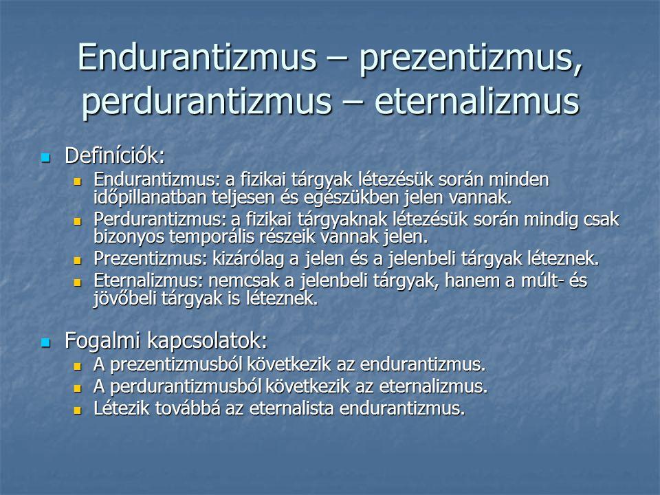 Endurantizmus – prezentizmus, perdurantizmus – eternalizmus