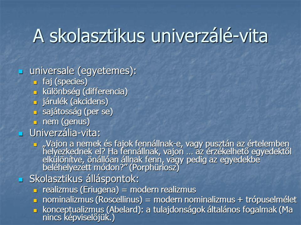 A skolasztikus univerzálé-vita