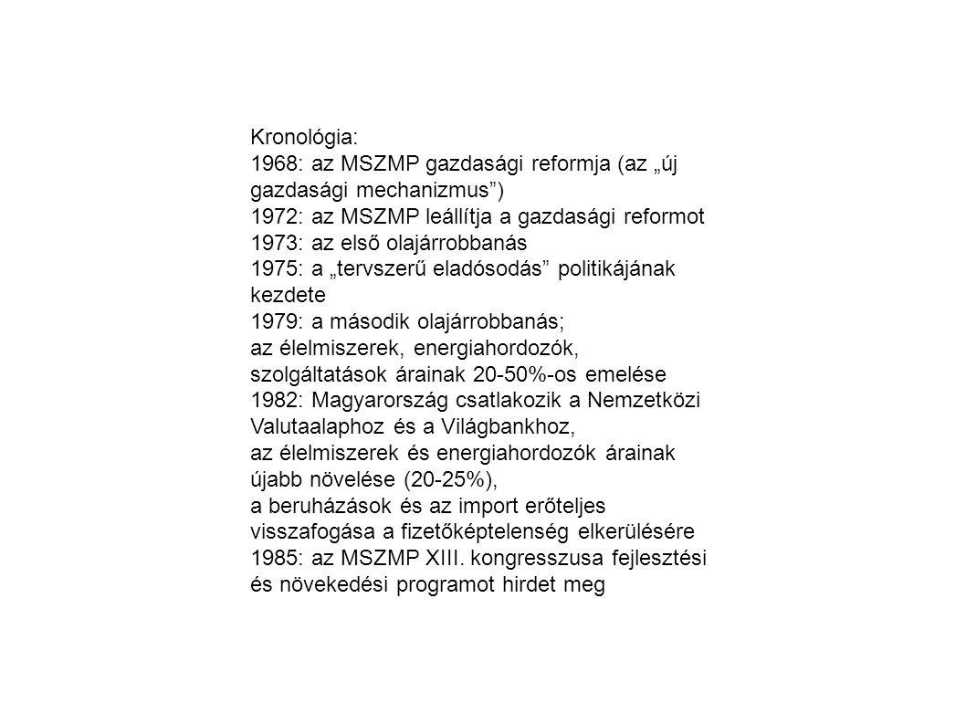 """Kronológia: 1968: az MSZMP gazdasági reformja (az """"új gazdasági mechanizmus ) 1972: az MSZMP leállítja a gazdasági reformot."""