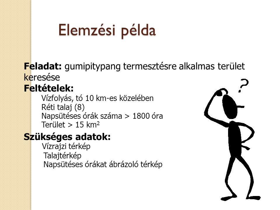 Elemzési példa Feladat: gumipitypang termesztésre alkalmas terület keresése. Feltételek: Vízfolyás, tó 10 km-es közelében.