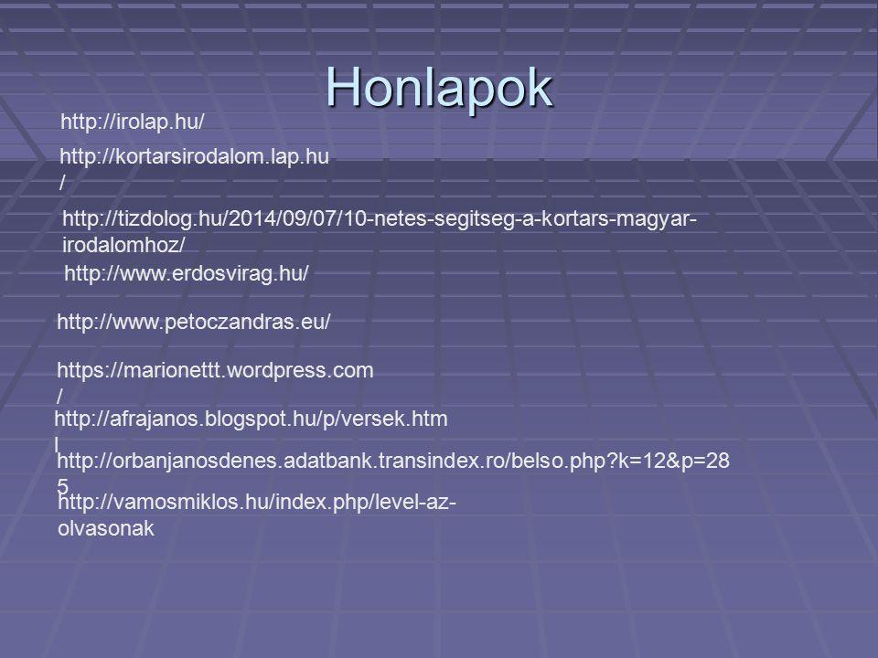 Honlapok http://irolap.hu/ http://kortarsirodalom.lap.hu/