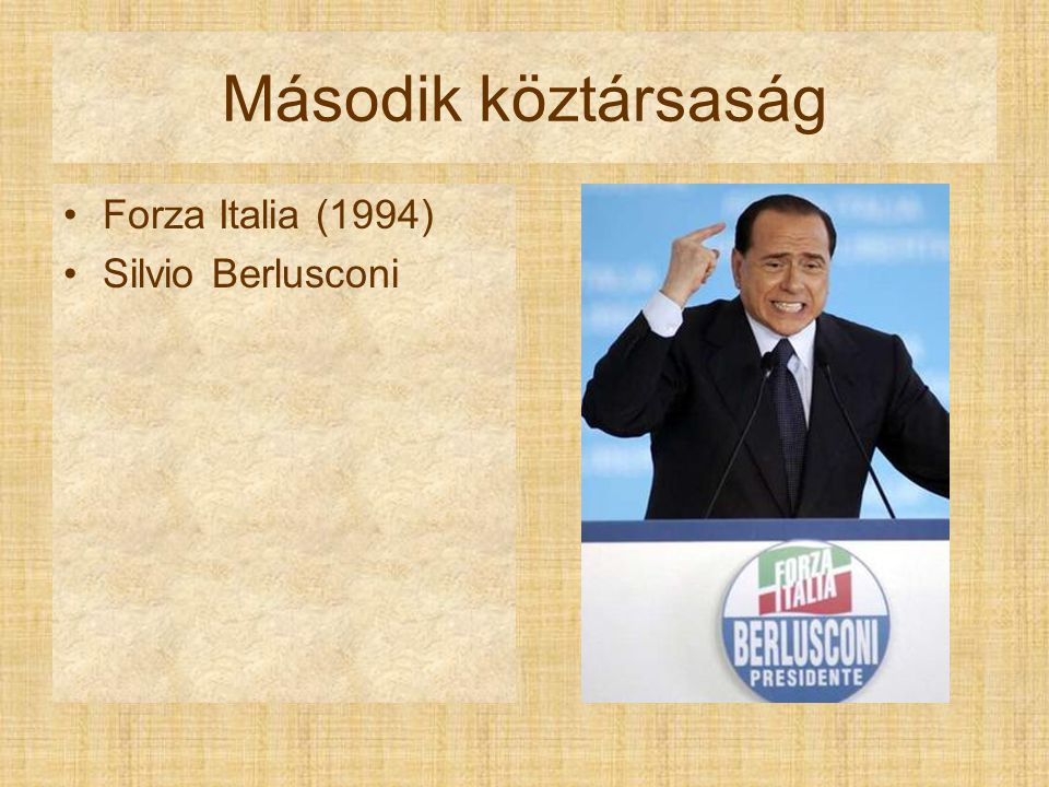 Második köztársaság Forza Italia (1994) Silvio Berlusconi