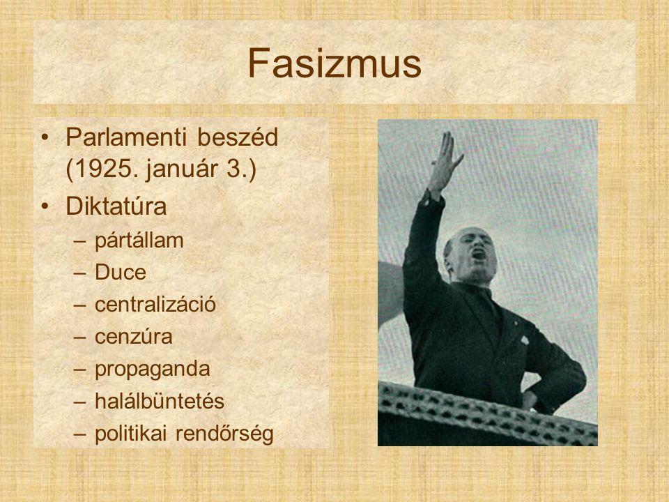 Fasizmus Parlamenti beszéd (1925. január 3.) Diktatúra pártállam Duce