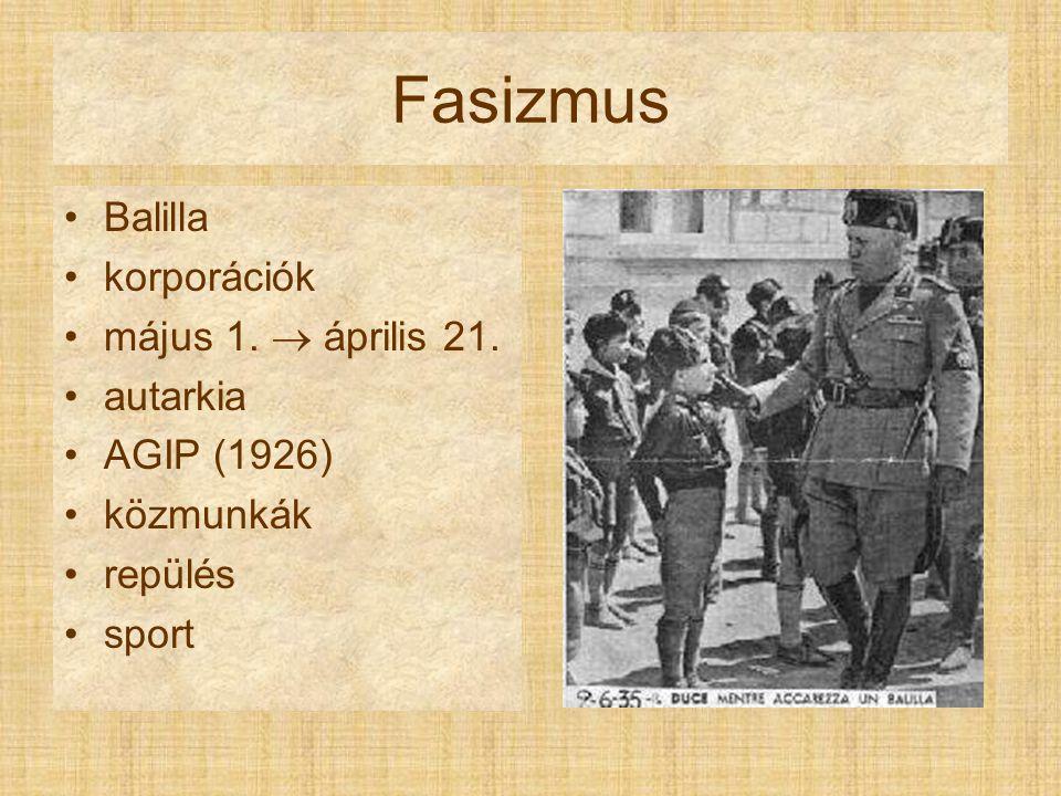 Fasizmus Balilla korporációk május 1.  április 21. autarkia