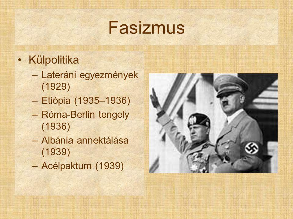 Fasizmus Külpolitika Lateráni egyezmények (1929) Etiópia (1935–1936)