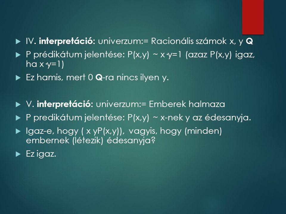 IV. interpretáció: univerzum:= Racionális számok x, y Q