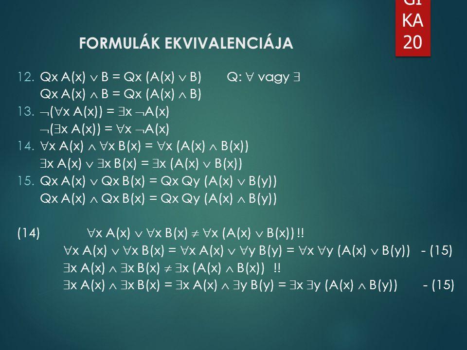 FORMULÁK EKVIVALENCIÁJA