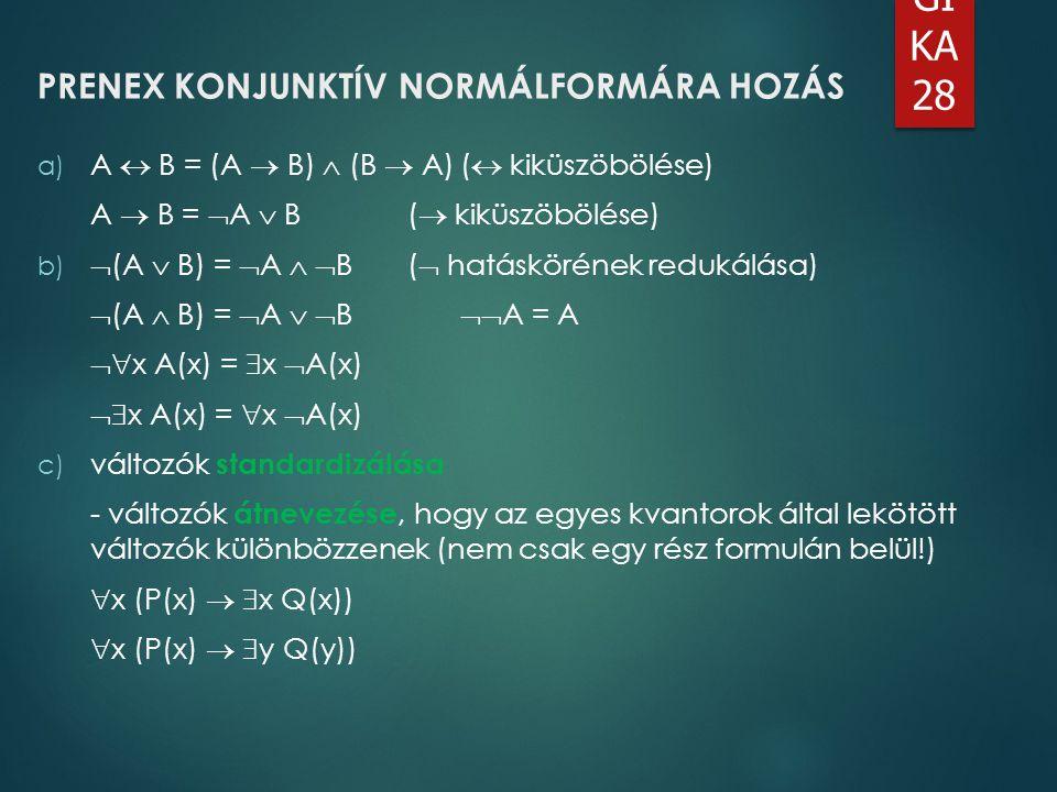 PRENEX KONJUNKTÍV NORMÁLFORMÁRA HOZÁS