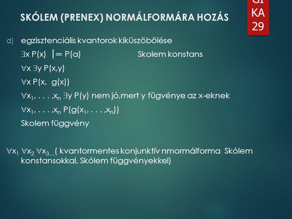 SKÓLEM (PRENEX) NORMÁLFORMÁRA HOZÁS