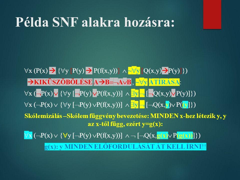Példa SNF alakra hozásra: