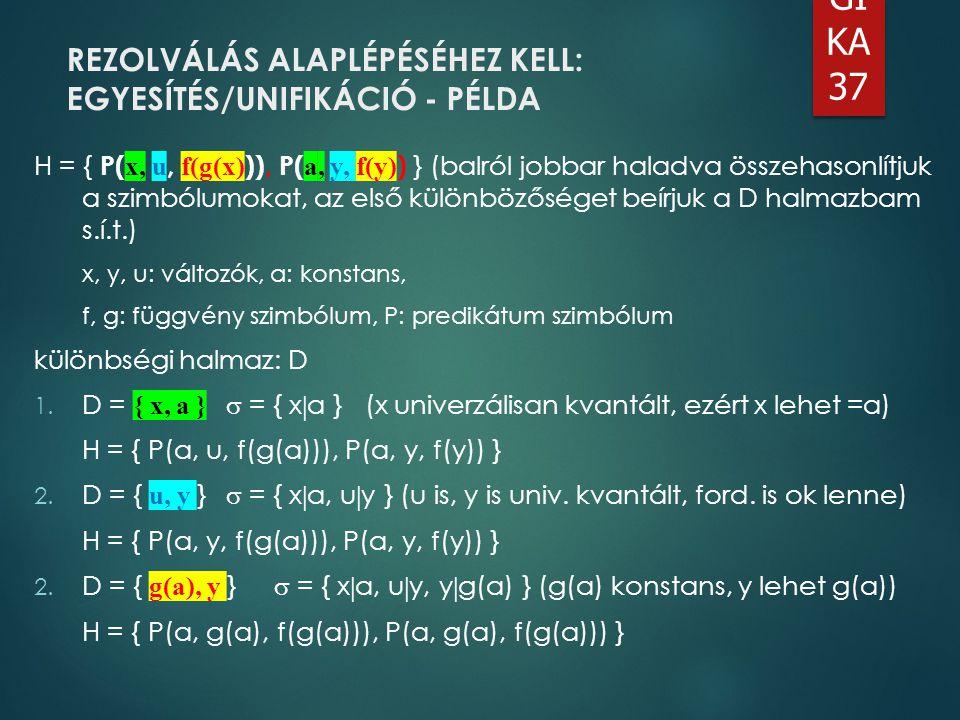 REZOLVÁLÁS ALAPLÉPÉSÉHEZ KELL: EGYESÍTÉS/UNIFIKÁCIÓ - PÉLDA