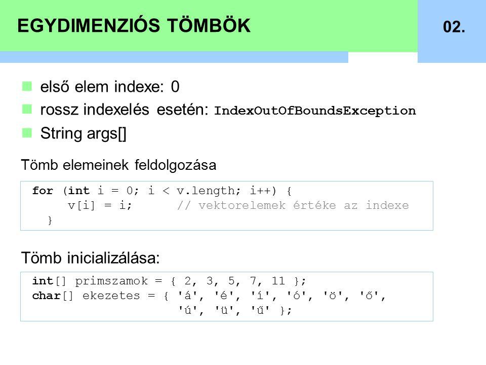 EGYDIMENZIÓS TÖMBÖK 02. első elem indexe: 0